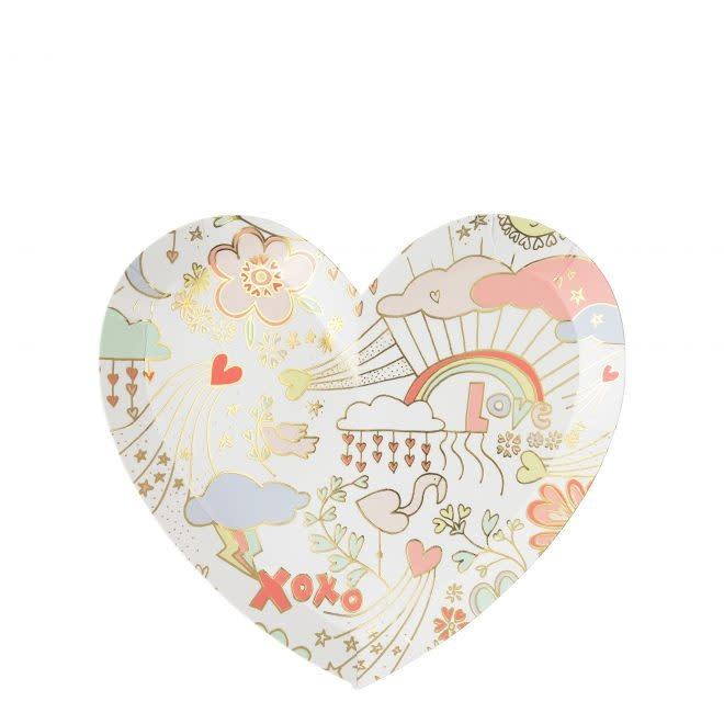 MERIMERI Valentine doodle plates S