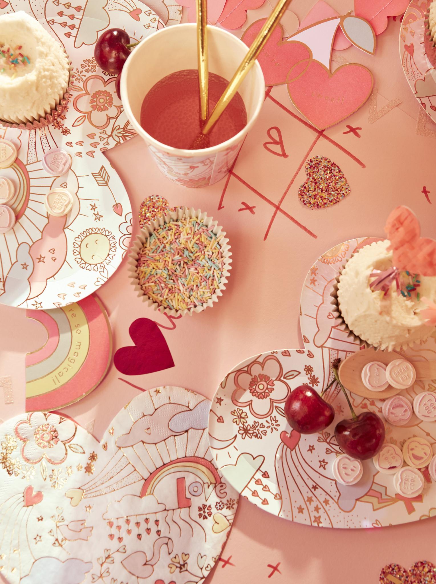 MERIMERI Valentine doodle plates L