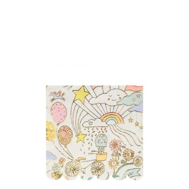 MERIMERI Happy Doodle napkins S