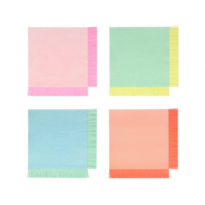MERIMERI Neon fringe napkins L