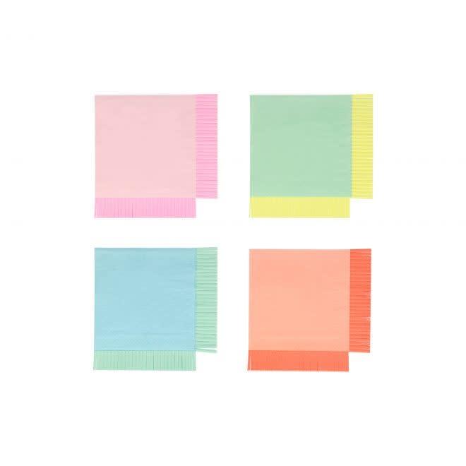 MERIMERI Neon fringe napkins S