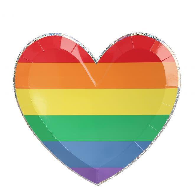 MERIMERI Rainbow Heart plates L
