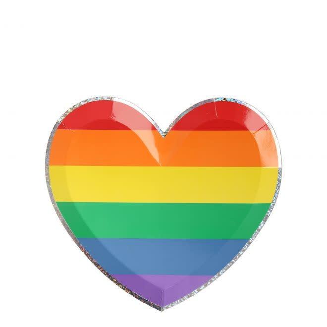 MERIMERI Rainbow Heart plates S