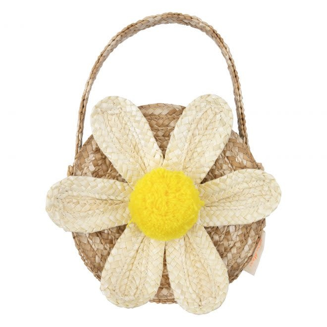MERIMERI White Daisy straw bag