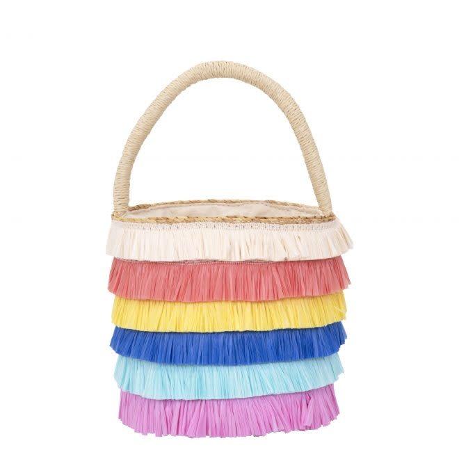 MERIMERI Raffia fringed woven straw bag