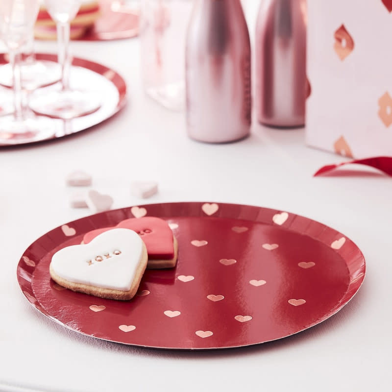 GINGERRAY Round plates with Rose Gold foiled hearts- Hey Good Looking