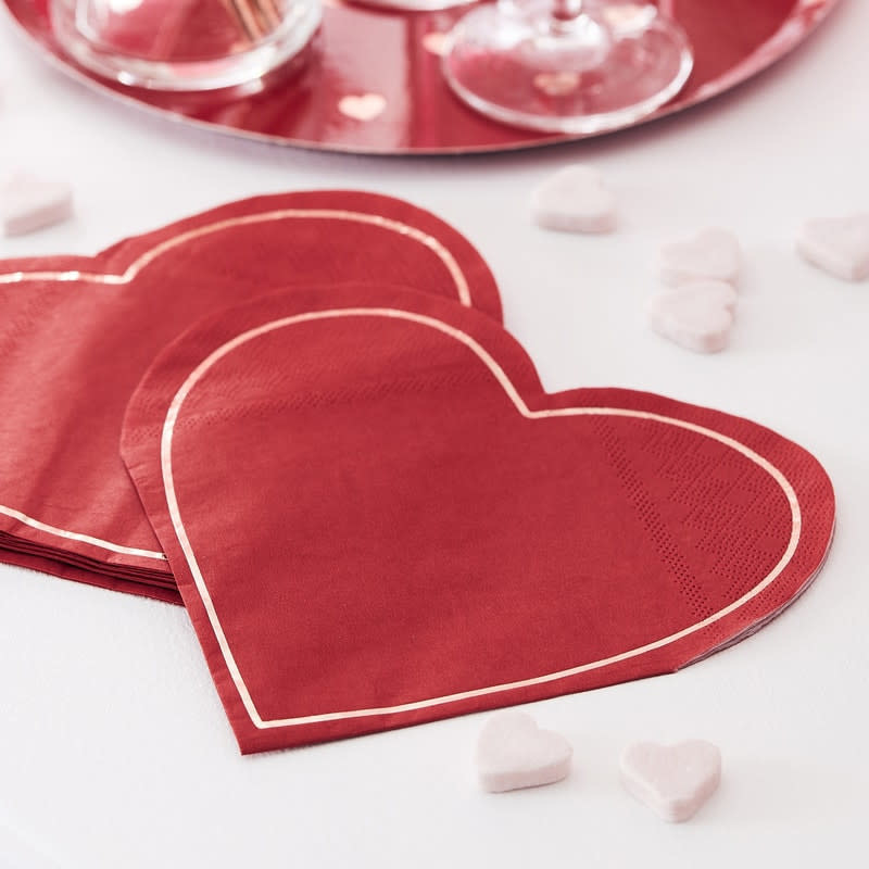 GINGERRAY Rose Gold Foiled 'Be Mine' heart shaped Napkins- Hey Good Looking