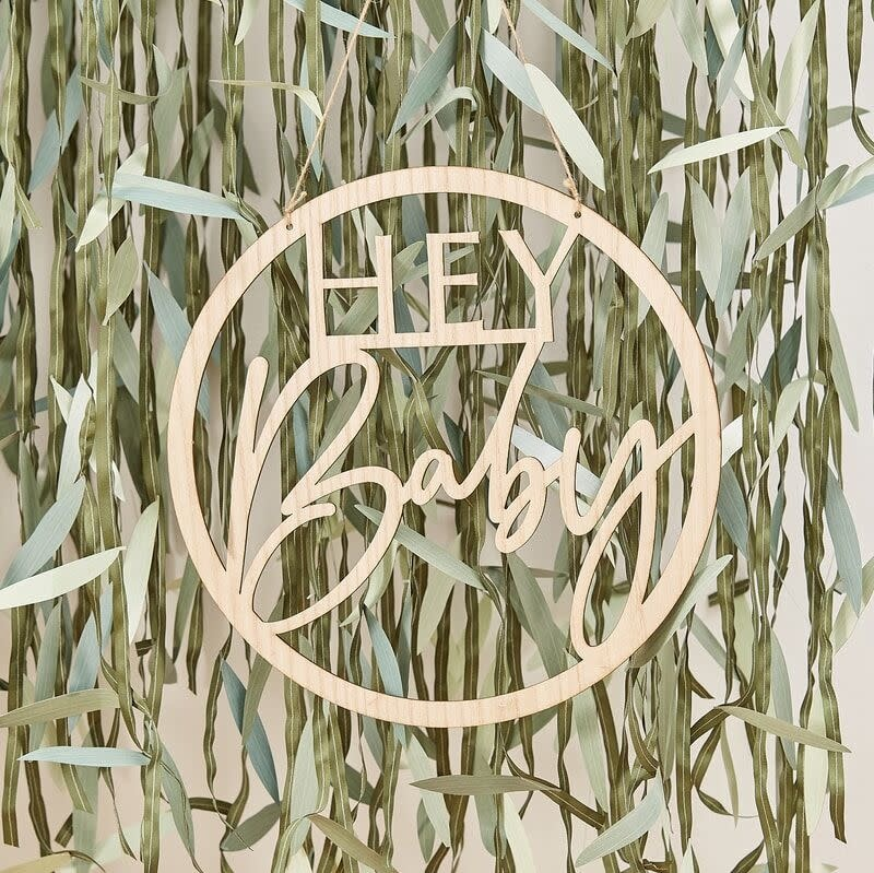 GINGERRAY WOODEN HEY BABY SHOWER SIGN