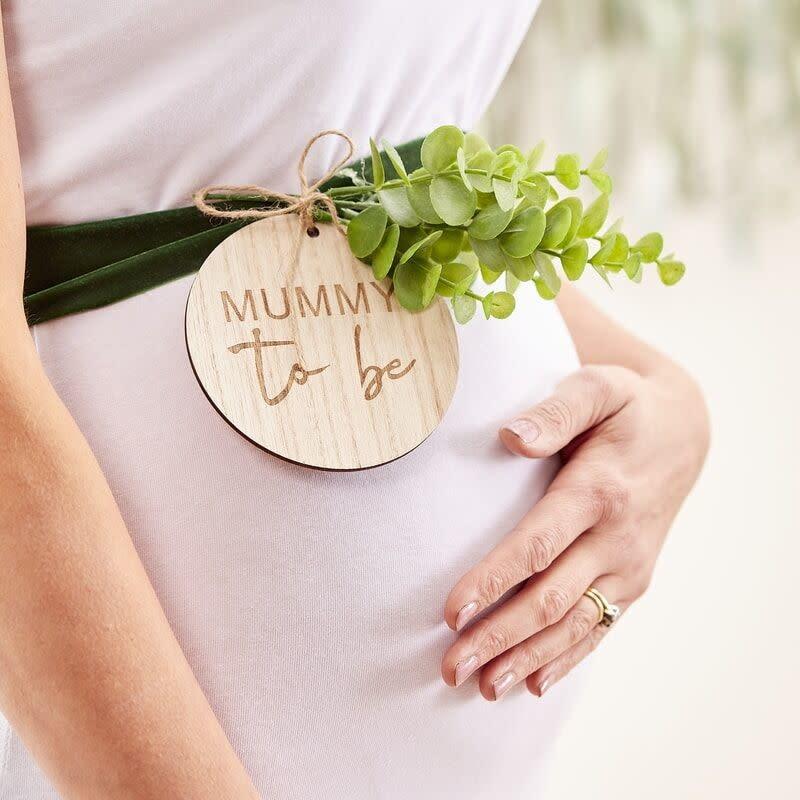 GINGERRAY MUMMY TO BE BABY SHOWER SASH WOODEN
