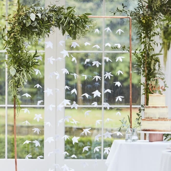 WHITE ORIGAMI FLOWER WEDDING BACKDROP