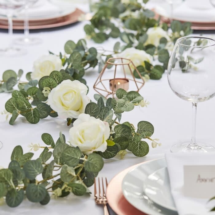 GINGERRAY ARTIFICIAL EUCALYPTUS GARLAND WITH WHITE ROSES