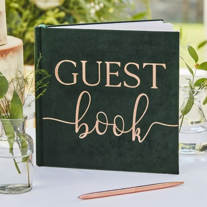 GINGERRAY GREEN VELVET FOILED WEDDING GUEST BOOK