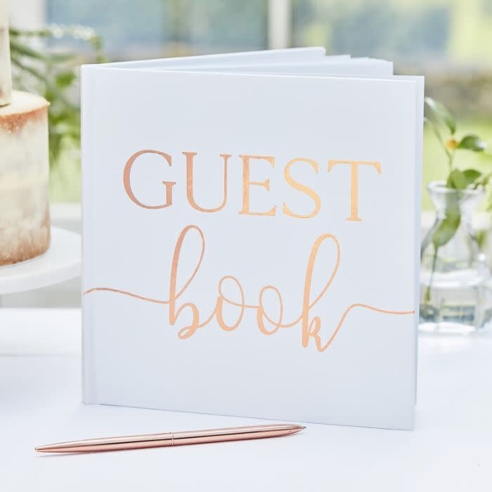 GINGERRAY ROSE GOLD FOIL WEDDING GUEST BOOK