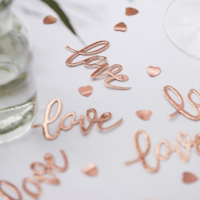 GINGERRAY ROSE GOLD LOVE TABLE WEDDING CONFETTI