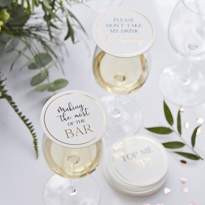GINGERRAY GLASS TOPPER WEDDING COASTERS