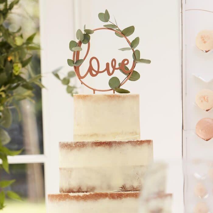 GINGERRAY LOVE SCRIPT ROSE GOLD WEDDING CAKE TOPPER