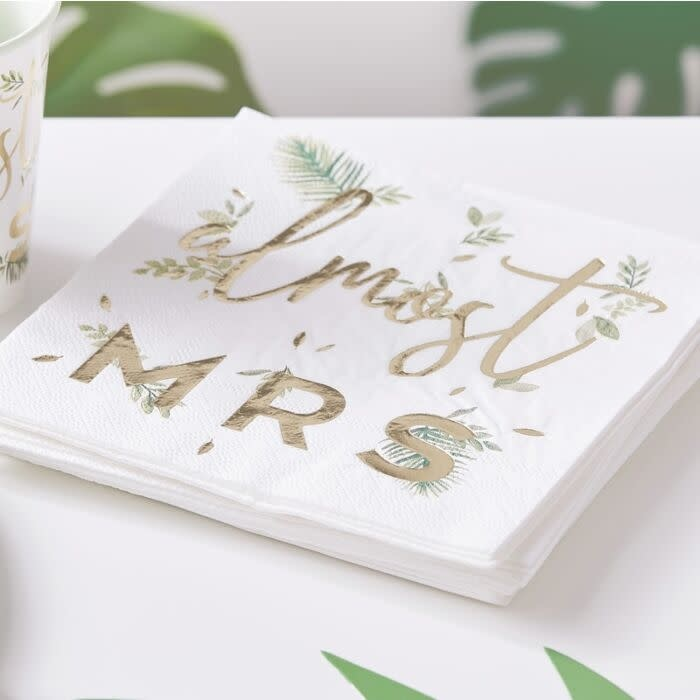 GINGERRAY GOLD FOILED ALMOST MRS HEN PARTY NAPKINS