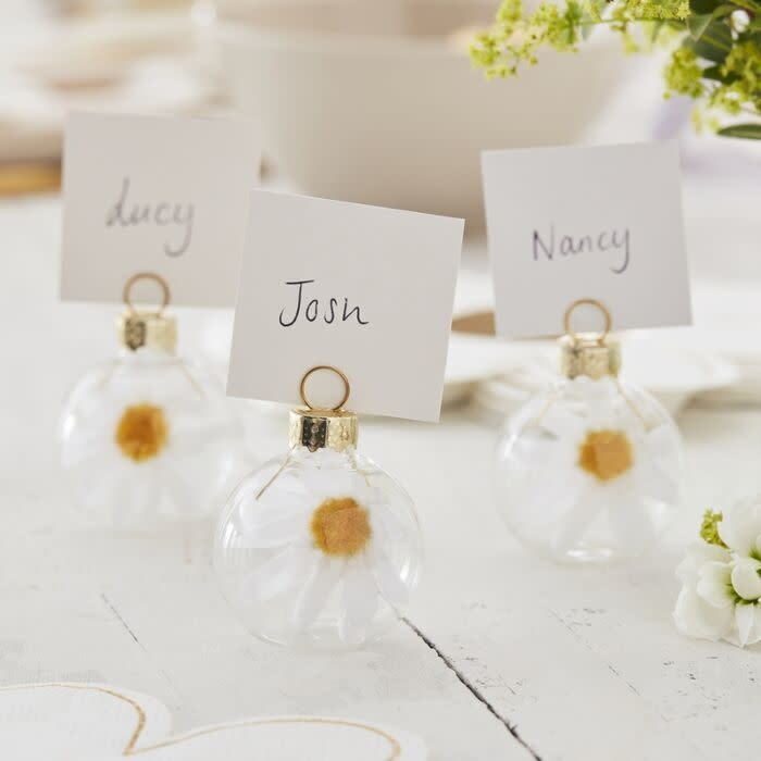 GINGERRAY GLASS DAISY BAUBLE EASTER NAME PLACE CARD HOLDERS