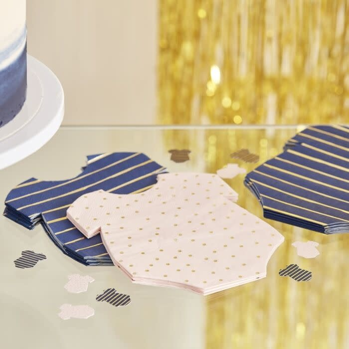 GINGERRAY GOLD FOILED PINK AND NAVY BABY GROW GENDER REVEAL PARTY NAPKINS