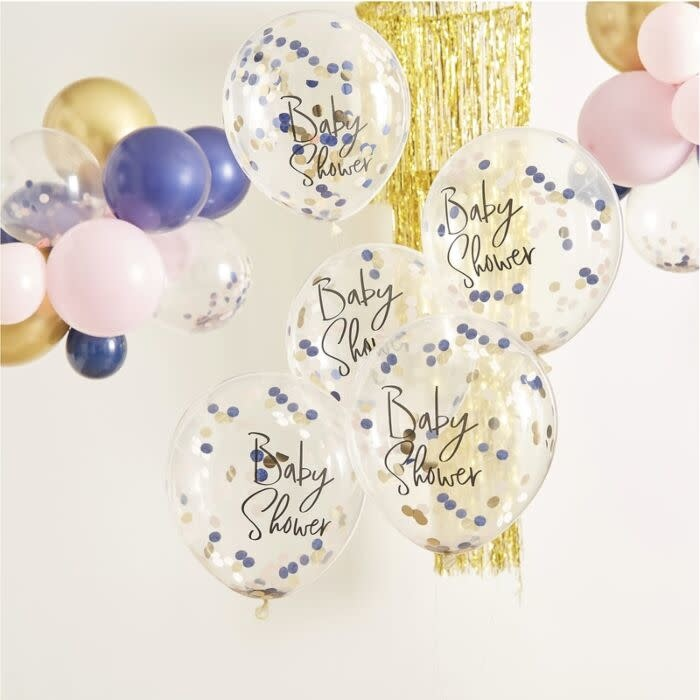 GINGERRAY NAVY PINK & GOLD CONFETTI BABY SHOWER BALLOONS