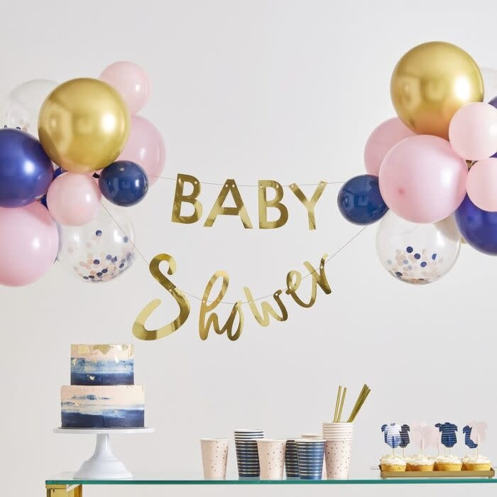 GINGERRAY GOLD BABY SHOWER BANNER AND BALLOON DECORATION
