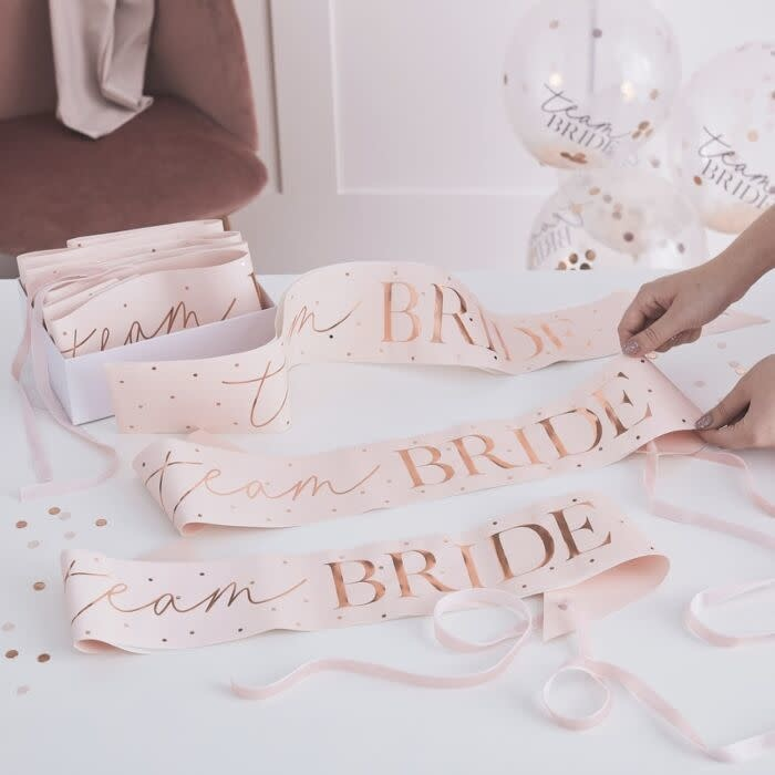 GINGERRAY PINK AND ROSE GOLD TEAM BRIDE HEN PARTY SASHES 6 PACK
