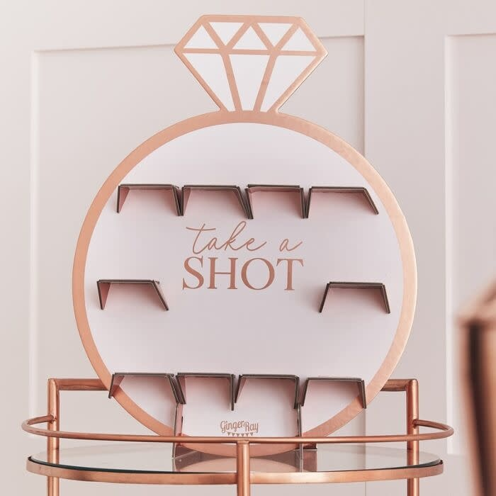 GINGERRAY ROSE GOLD HEN PARTY DRINKS SHOT WALL