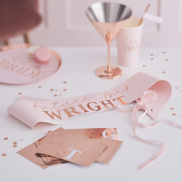 GINGERRAY PERSONALISED ROSE GOLD HEN PARTY BRIDE TO BE SASH