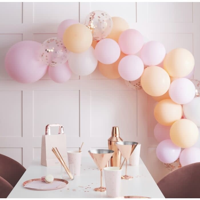 GINGERRAY MATTE PEACH AND PINK HEN PARTY BALLOON ARCH GARLAND