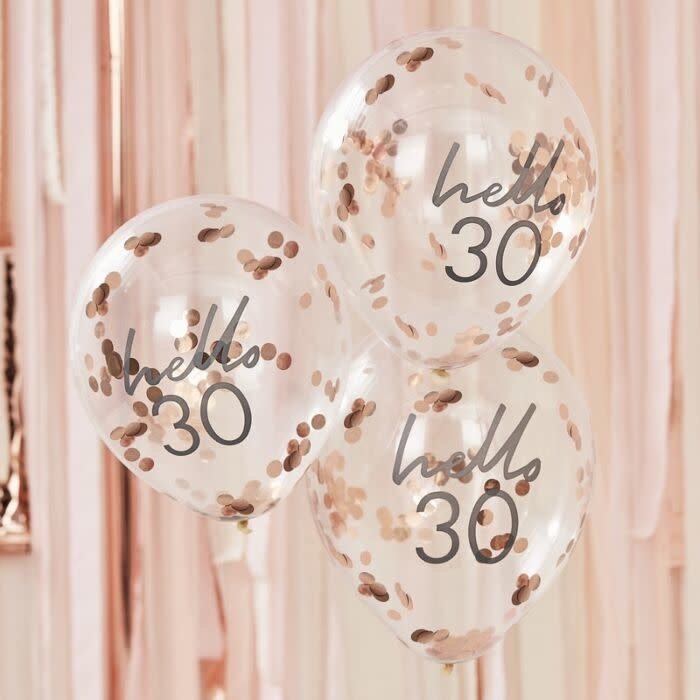 GINGERRAY HELLO 30 BIRTHDAY BALLOONS