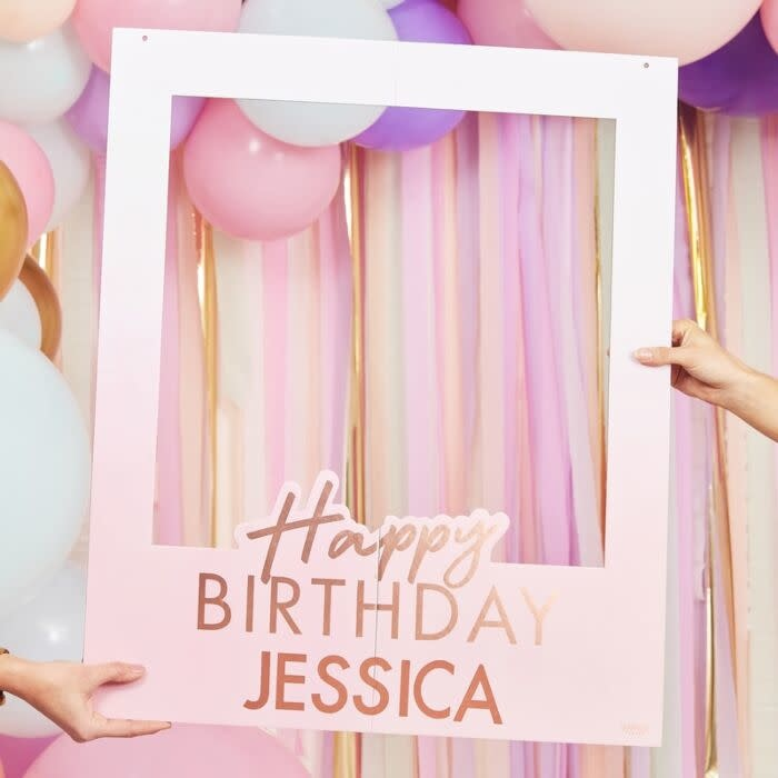 GINGERRAY ROSE GOLD FOILED PERSONALISED HAPPY BIRTHDAY SELFIE PHOTO BOOTH FRAME