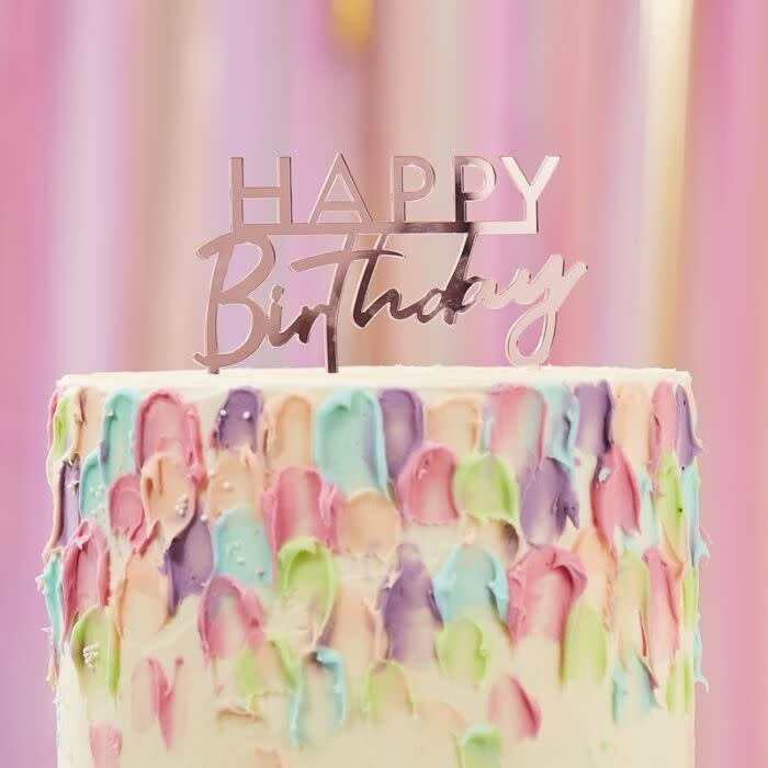 Wondrous Pink Acrylic Happy Birthday Cake Topper Yay Personalised Birthday Cards Paralily Jamesorg