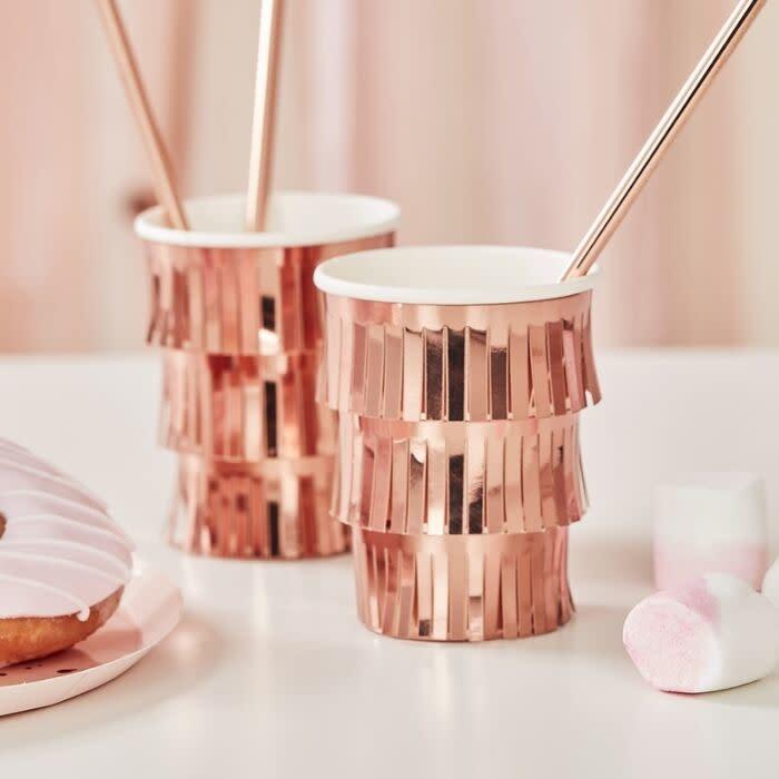 GINGERRAY FRINGE ROSE GOLD PAPER CUPS
