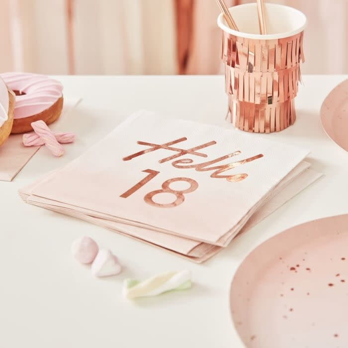 GINGERRAY HELLO 18TH BIRTHDAY PARTY NAPKINS ROSE GOLD