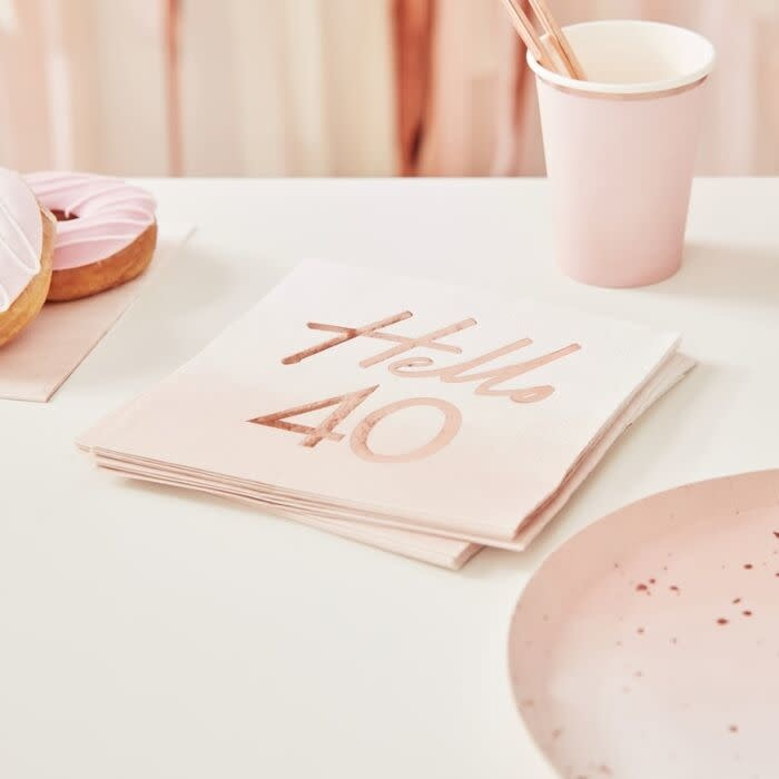 GINGERRAY HELLO 40TH BIRTHDAY PARTY NAPKINS ROSE GOLD