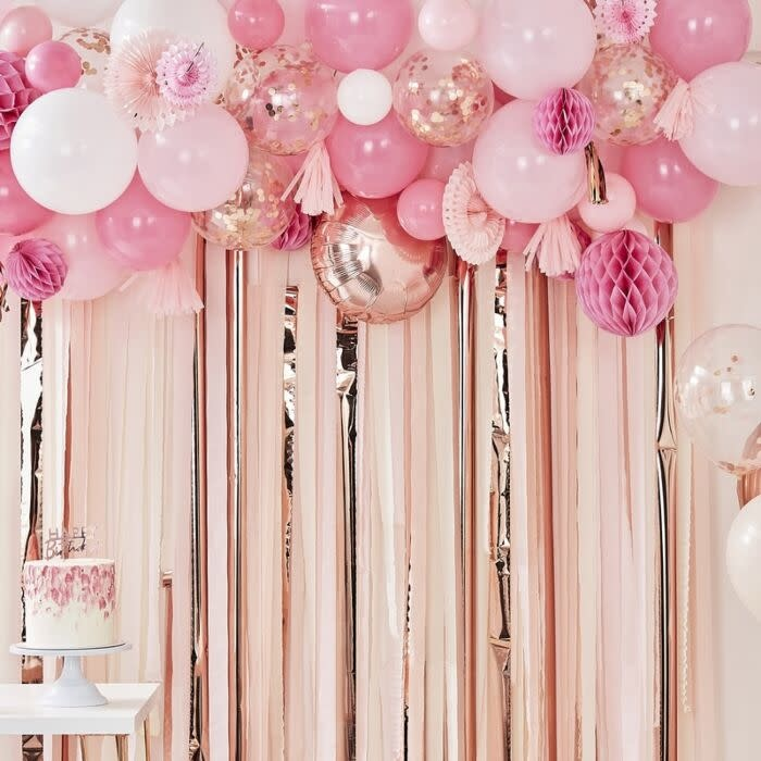 GINGERRAY BLUSH AND PEACH BALLOON AND FAN GARLAND PARTY BACKDROP