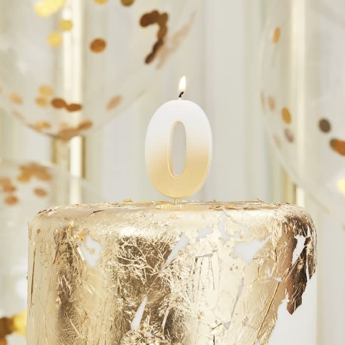 GINGERRAY GOLD OMBRE 0 NUMBER BIRTHDAY CANDLE