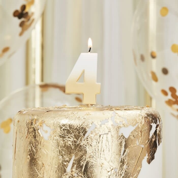 GINGERRAY GOLD OMBRE 4 NUMBER BIRTHDAY CANDLE