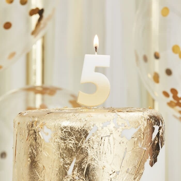 GINGERRAY GOLD OMBRE 5 NUMBER BIRTHDAY CANDLE