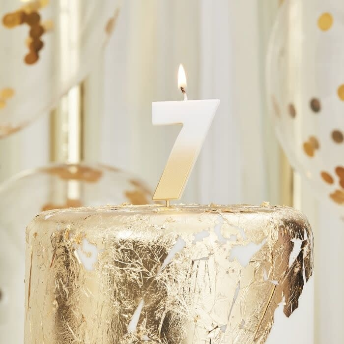 GINGERRAY GOLD OMBRE 7 NUMBER BIRTHDAY CANDLE