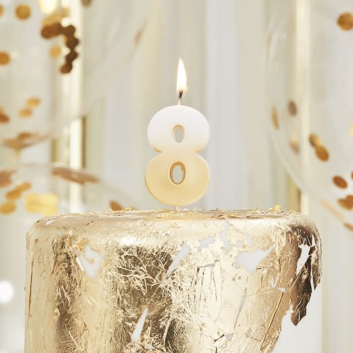 GINGERRAY GOLD OMBRE 8 NUMBER BIRTHDAY CANDLE