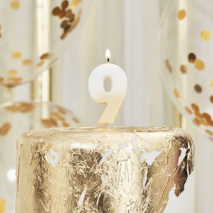GINGERRAY GOLD OMBRE 9 NUMBER BIRTHDAY CANDLE