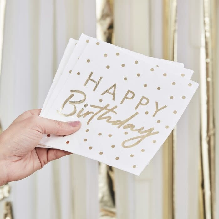 GINGERRAY GOLD FOILED HAPPY BIRTHDAY PAPER NAPKINS