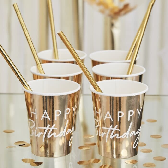 GINGERRAY GOLD HAPPY BIRTHDAY PARTY CUPS