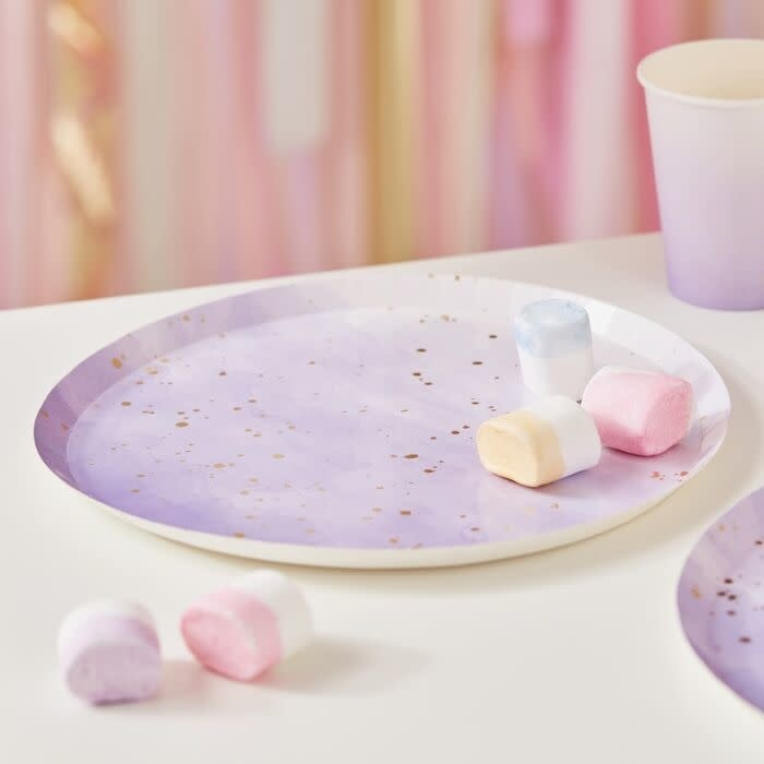 GINGERRAY GOLD WATERCOLOUR SPECKLE LILAC PAPER PLATES