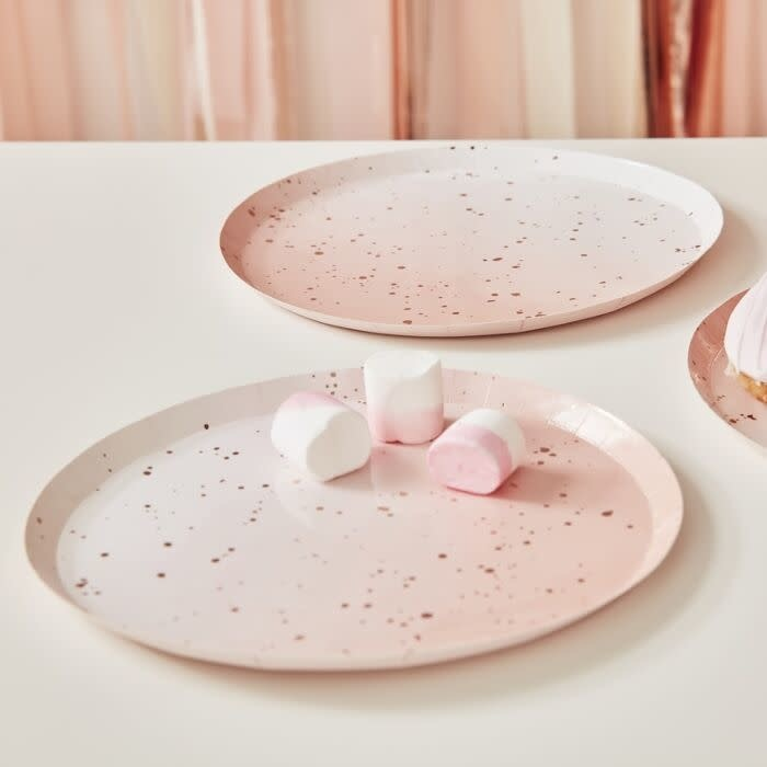 GINGERRAY PINK WATERCOLOUR SPECKLE ROSE GOLD PAPER PLATES