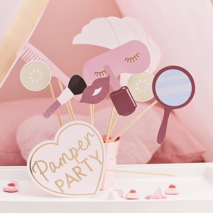 GINGERRAY PINK GLITTER AND FOILED PAMPER PARTY PHOTO BOOTH PROPS