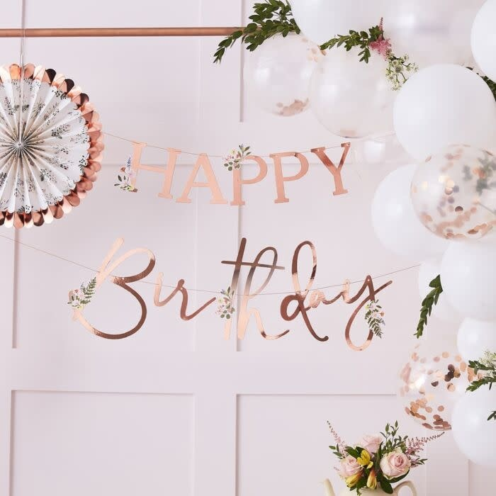 GINGERRAY FLORAL ROSE GOLD HAPPY BIRTHDAY BANNER