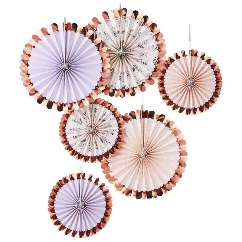 GINGERRAY PASTEL AND FLORAL FAN TEA PARTY DECORATIONS
