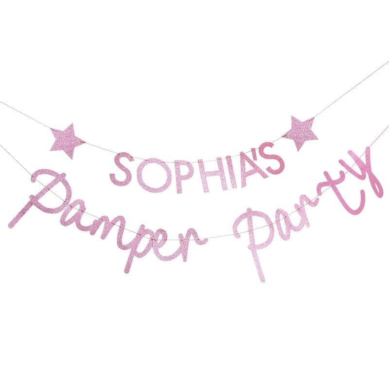 GINGERRAY PINK GLITTER PERSONALISED PAMPER PARTY BANNER